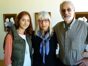 Christine Palamidessi in her Somerville Studio. With daughter Ruby Bagedonow and husband Matthew Bagedonow.